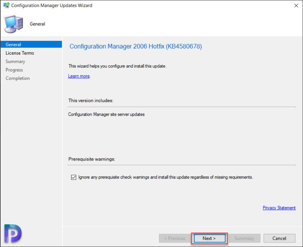 Install ConfigMgr 2006 Hotfix KB4580678