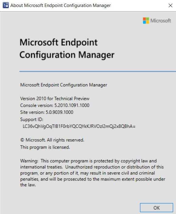 About Microsoft Endpoint Configuration Manager Technical Preview 2010.2