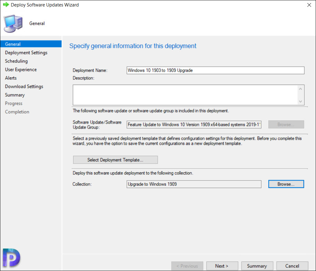 Specify the deployment information