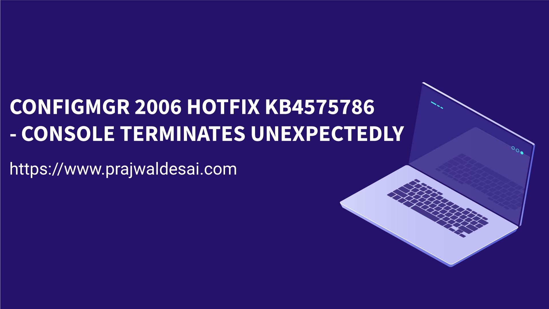 ConfigMgr 2006 Hotfix KB4575786