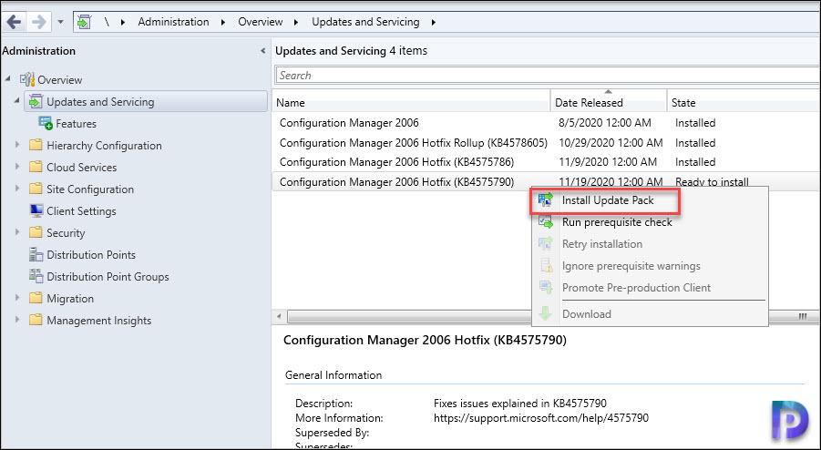 Install ConfigMgr 2006 Hotfix KB4575790