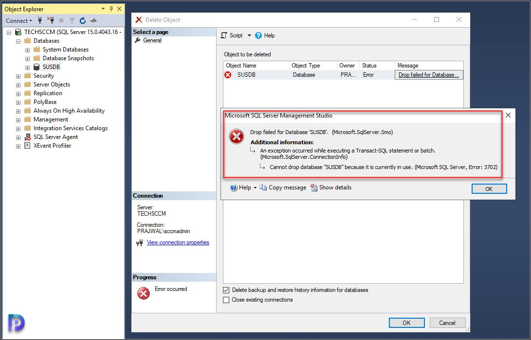 Cannot drop database SUSDB because it is currently in use