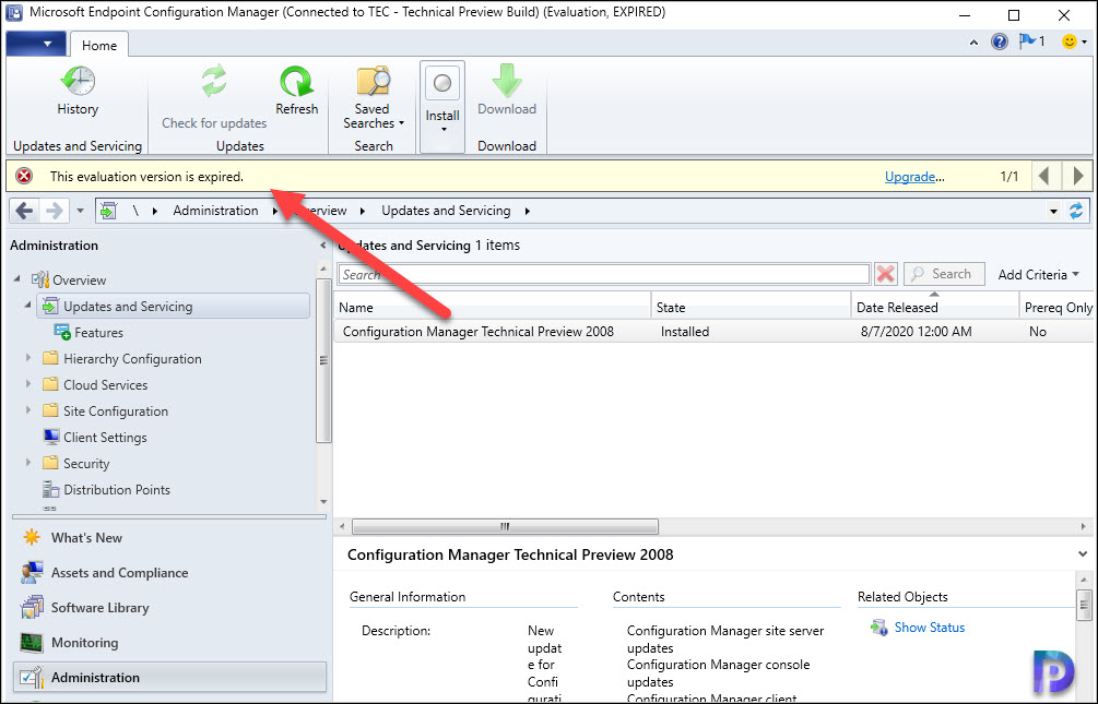 ConfigMgr Technical Preview Expired