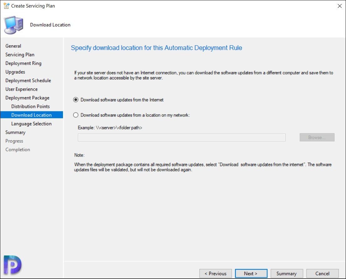 Download Location for Automatic Deployment Rule