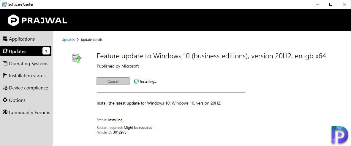 Servicing Plan - Upgrade to Windows 10 20H2