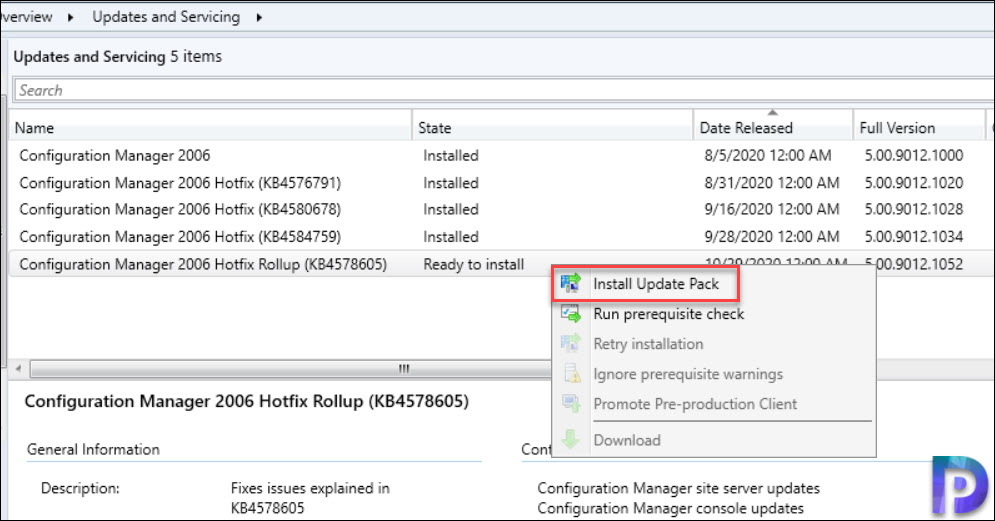 Install Configuration Manager 2006 Hotfix Rollup (KB4578605)