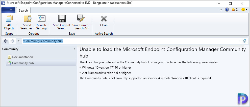 Unable to load the Configuration Manager Community hub Snap1