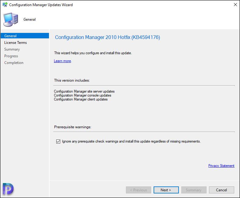Install SCCM 2010 Hotfix KB4594176