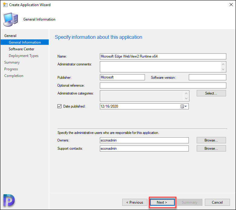 Specify WebView2 Application Details