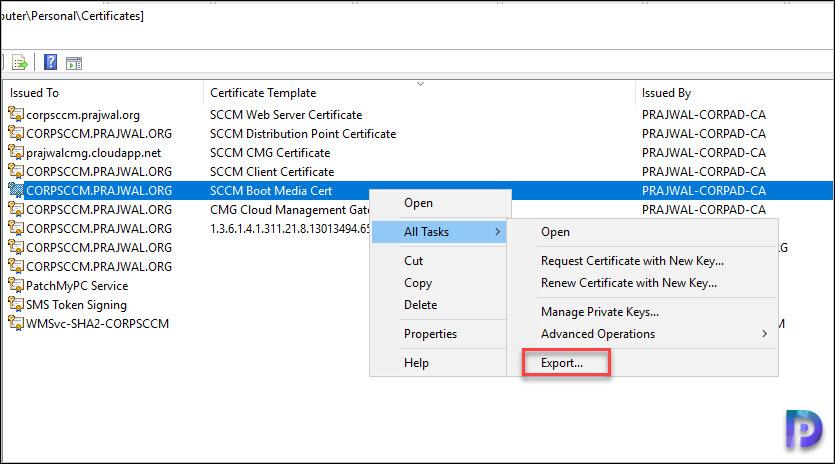 Export the Certificate