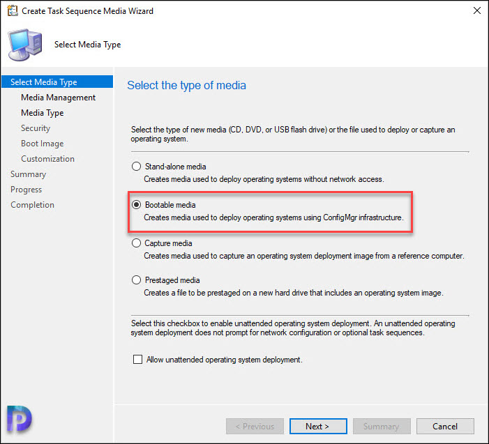 Create a Task Sequence bootable media to use CMG