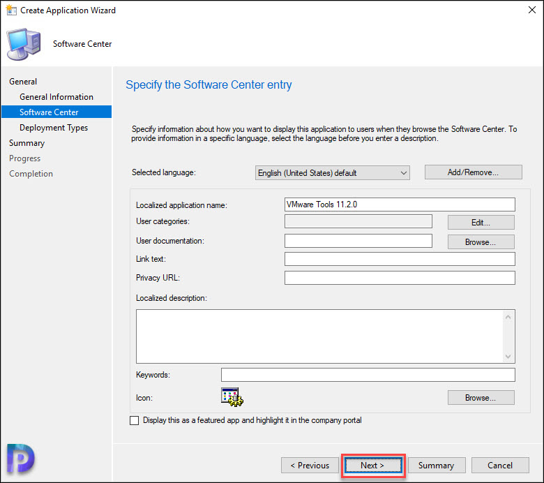 Specify the Software Center Entry