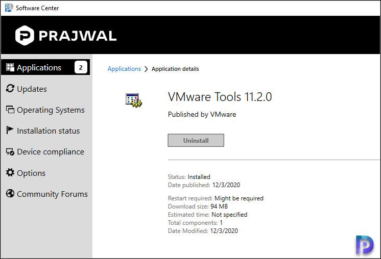 Deploy VMware Tools Application using ConfigMgr