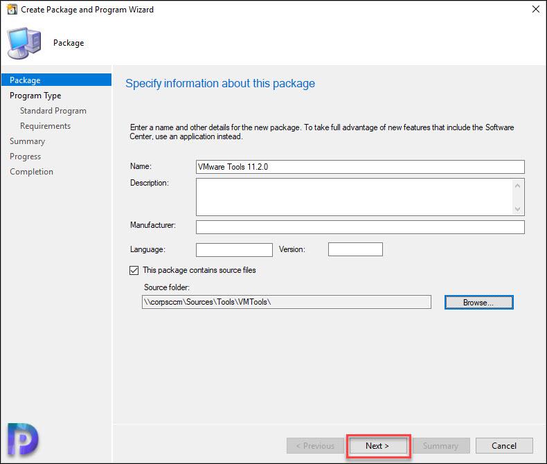 Create VMware Tools Package in SCCM