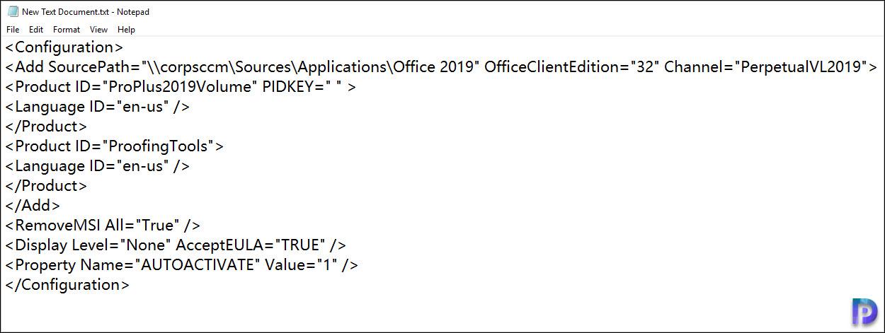 Create Office 2019 Configuration File