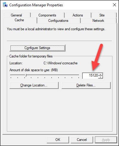 Increase the ConfigMgr Client Cache