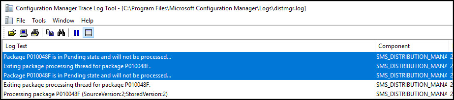 SCCM Package is in Pending State and will not be processed