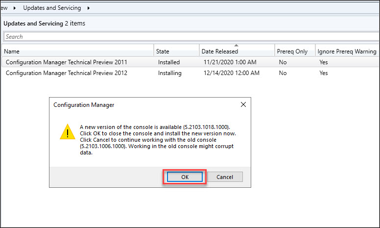 ConfigMgr Technical Preview 2012 Console Upgrade
