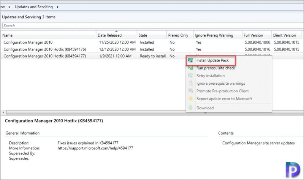 Install ConfigMgr 2010 Hotfix KB4594177