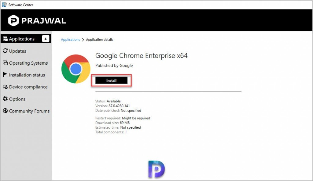 Install Google Chrome from Software Center