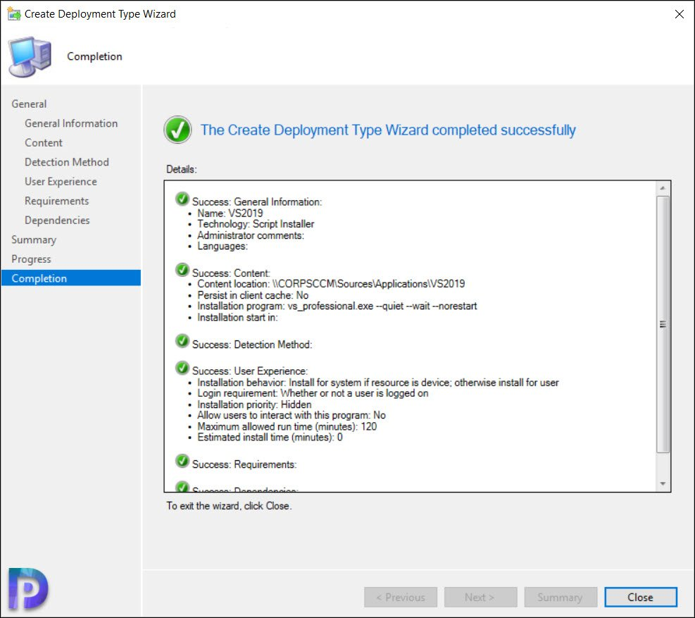 Create Visual Studio 2019 Application in SCCM