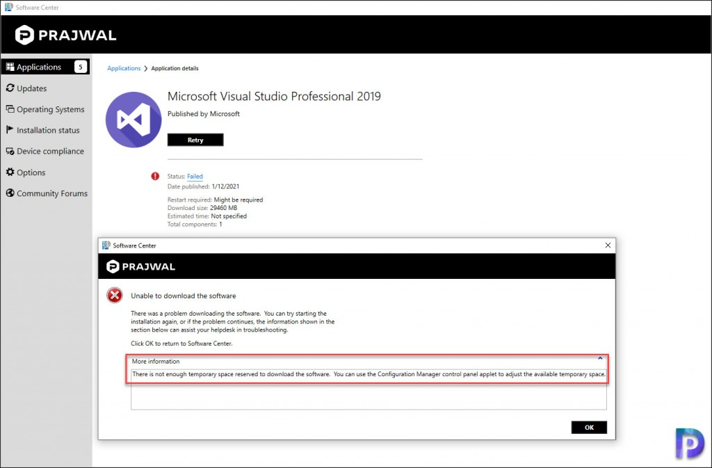 SCCM Software Center - Install Visual Studio 2019