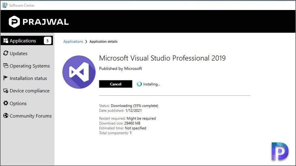 Downloading Visual Studio 2019