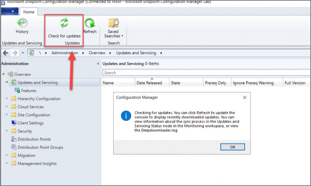 Configuration Manager Console - Check for Updates