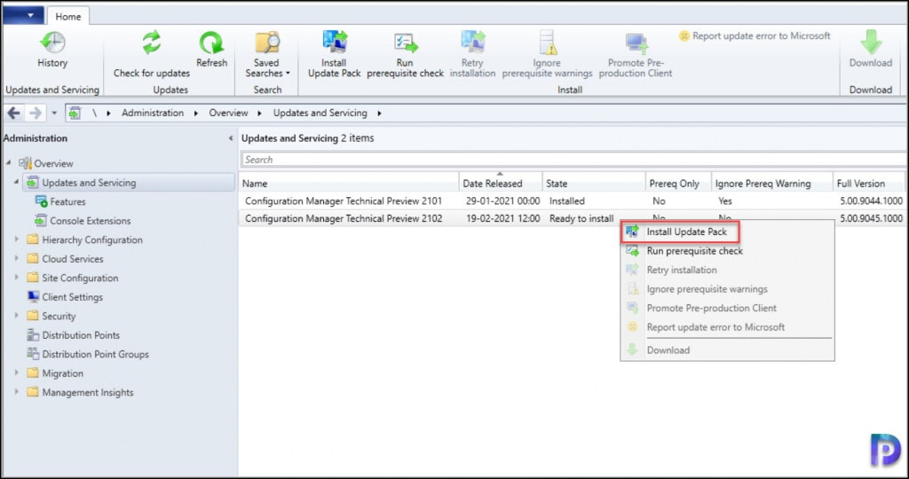 Install ConfigMgr Technical Preview 2102