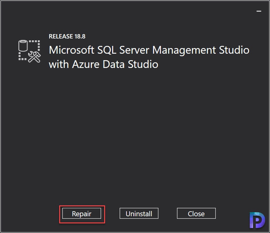 Repair SQL Server Management Studio