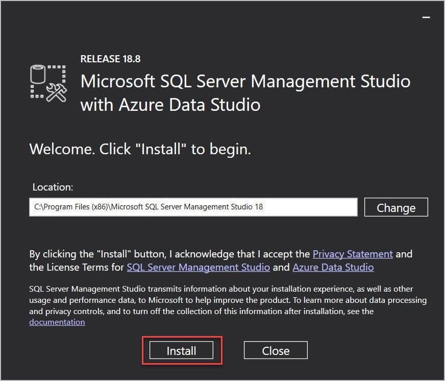 Install SQL Server 2019 SSMS
