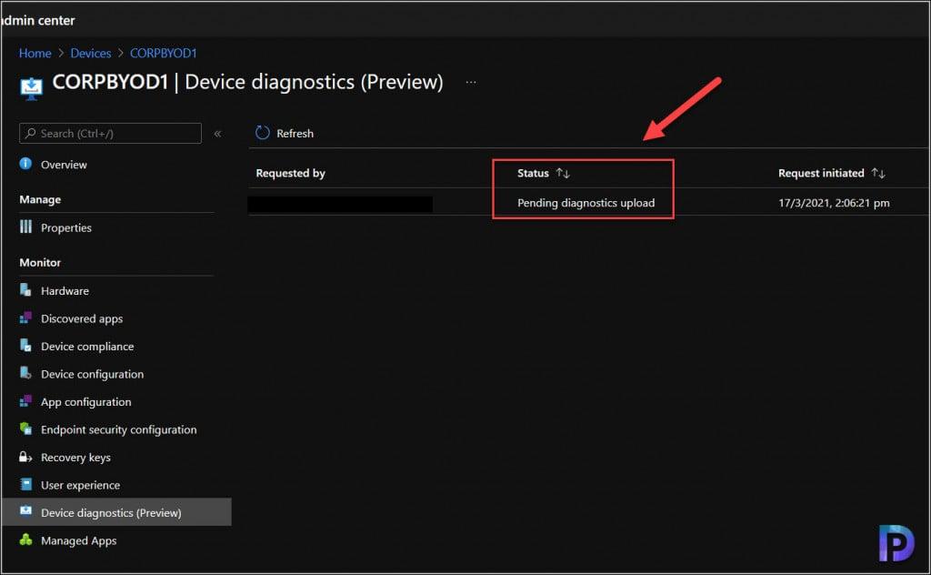 Pending diagnostics Upload
