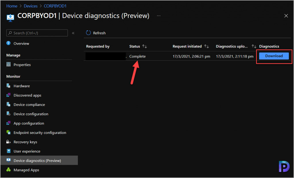 collect logs with Intune