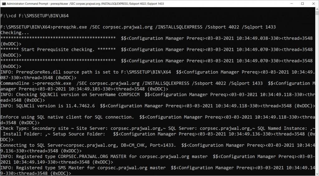ConfigMgr Secondary Site Prerequisite Checks