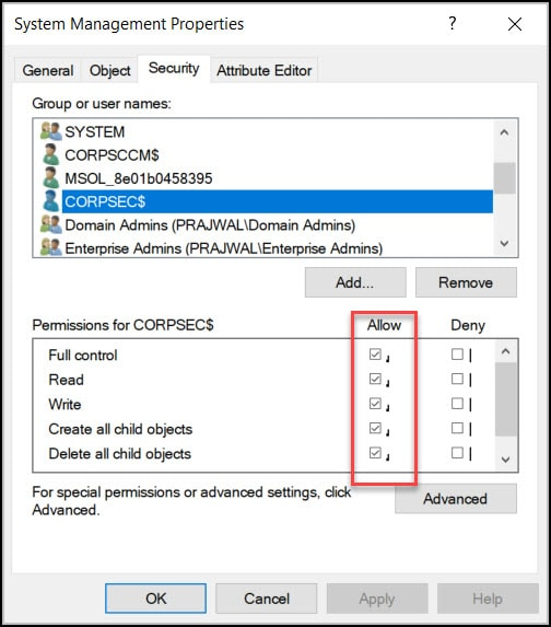 Verify site server permissions to publish to Active Directory