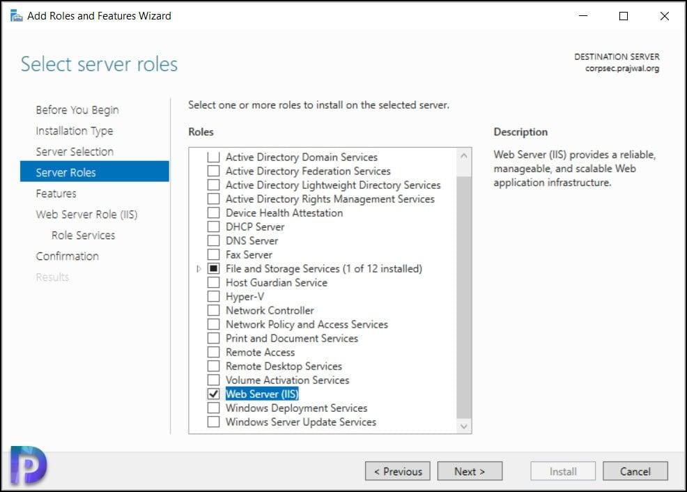 Install Web Server IIS