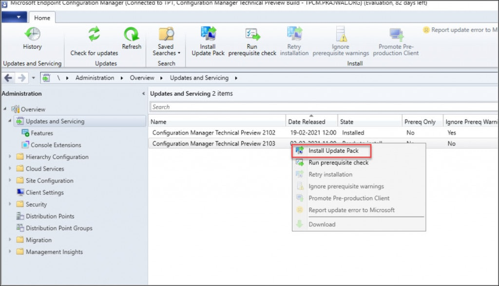 Install Configuration Manager Technical Preview 2103