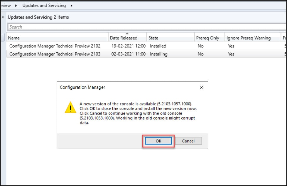 SCCM Technical Preview 2103 Console Upgrade