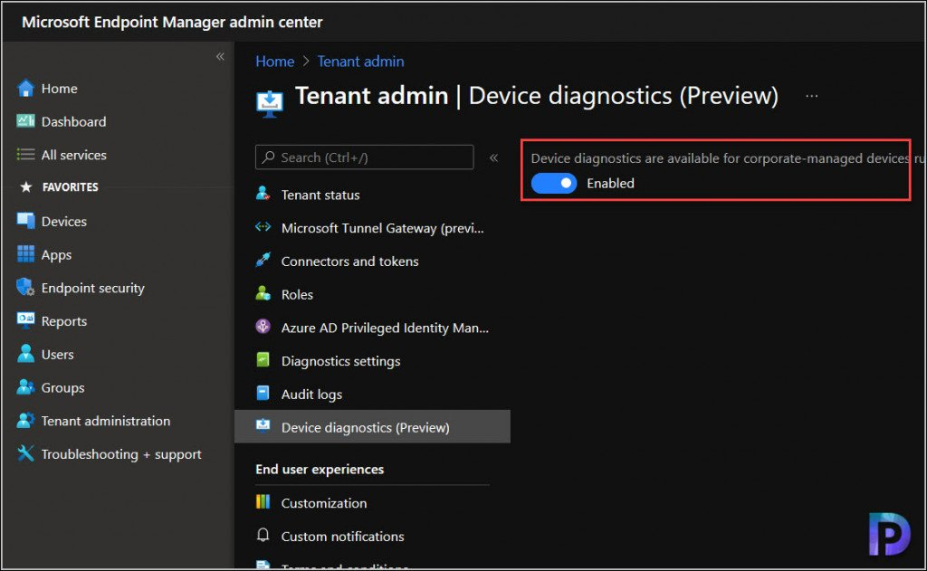 Device Diagnostics in MEM Admin Center