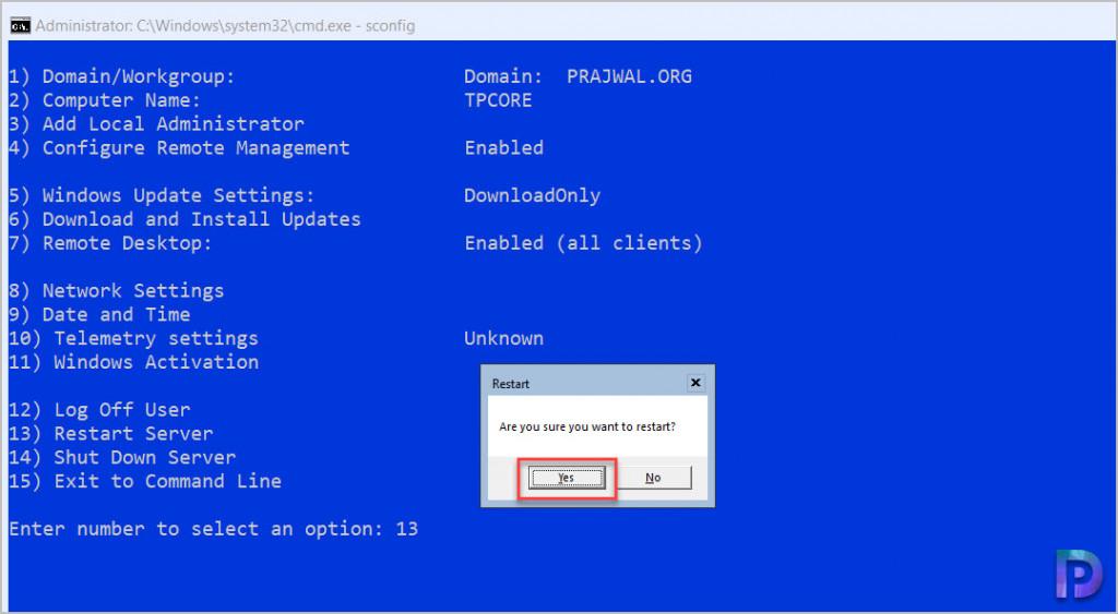 Windows Server Core Restart