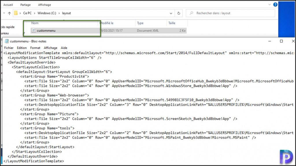 Export the Custom Start Layout file