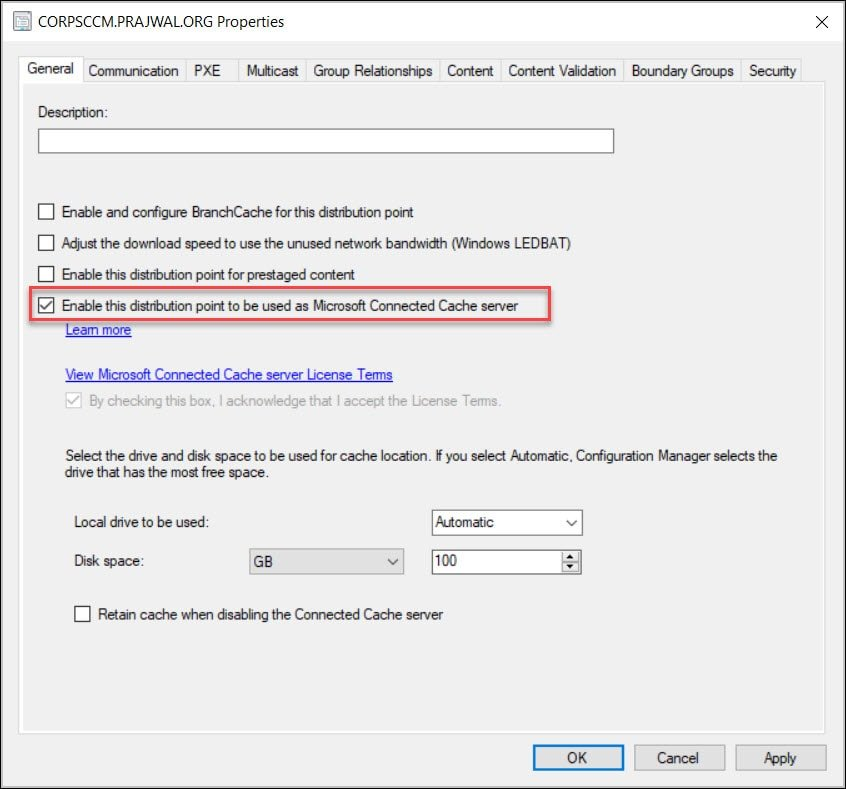 Enable this distribution point to be used as Microsoft Connected Cache server