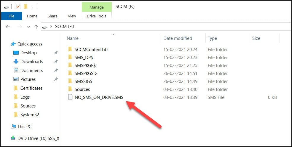 NO SMS ON DRIVE.SMS file on Content Library Drive