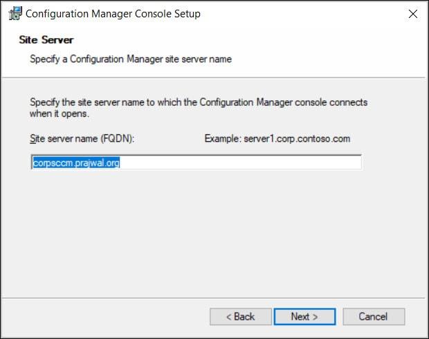 Specify Site Server FQDN