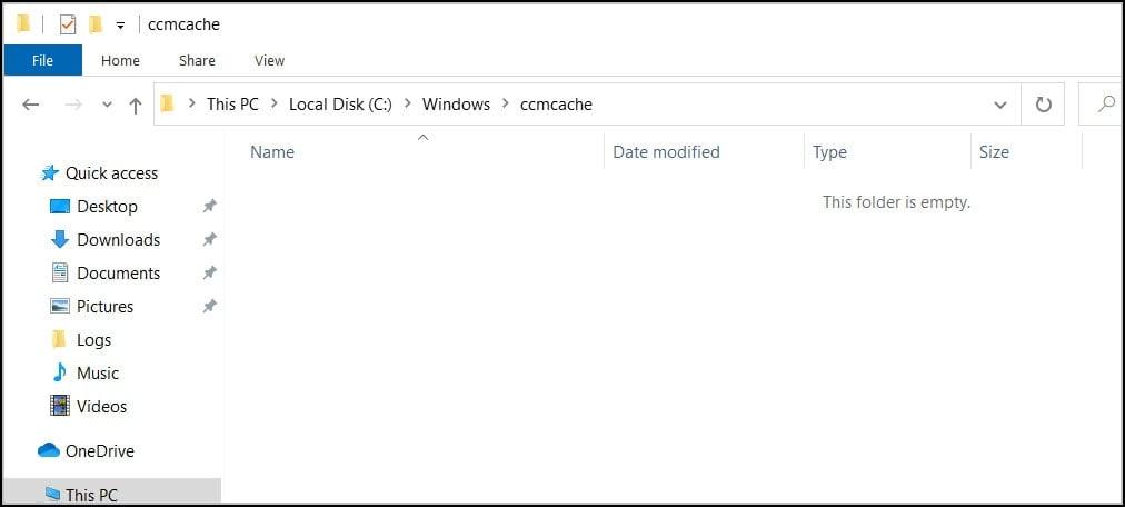 ccmcache folder empty