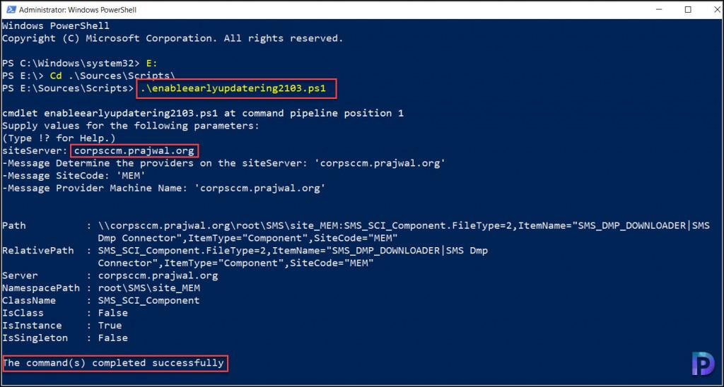 SCCM 2013 EnableEarlyUpdateRing PowerShell script
