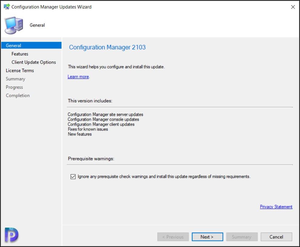 Begin SCCM 2103 Upgrade