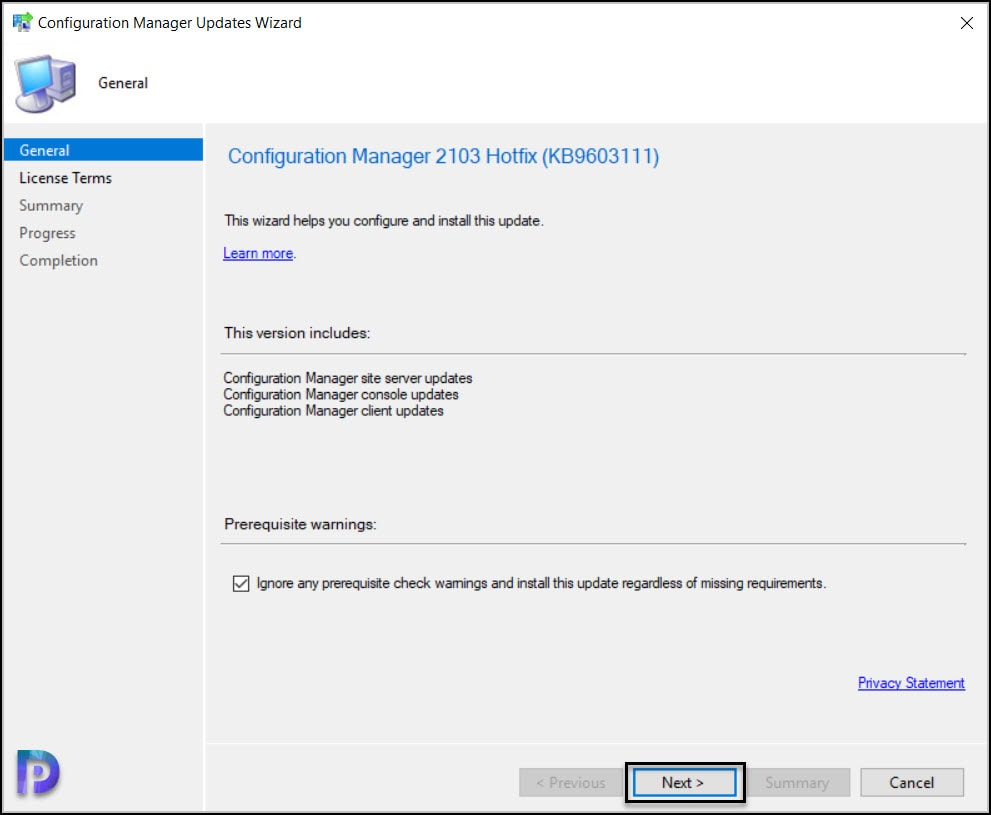 Install ConfigMgr 2103 Hotfix KB9603111