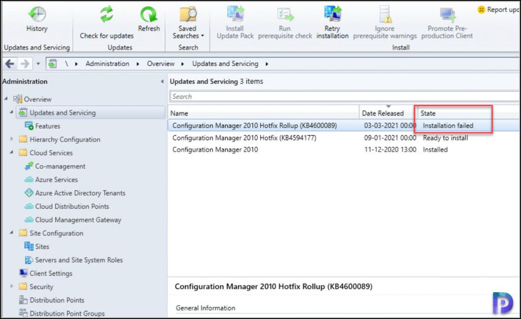 ConfigMgr Update Installation Failed