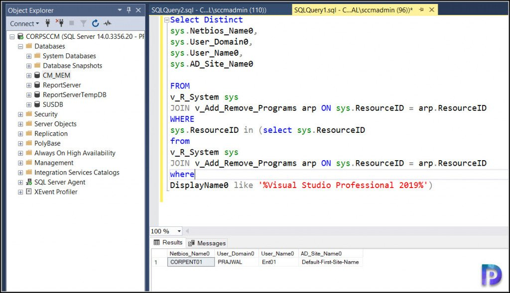 SQL Query to Find Computers Installed with Visual Studio